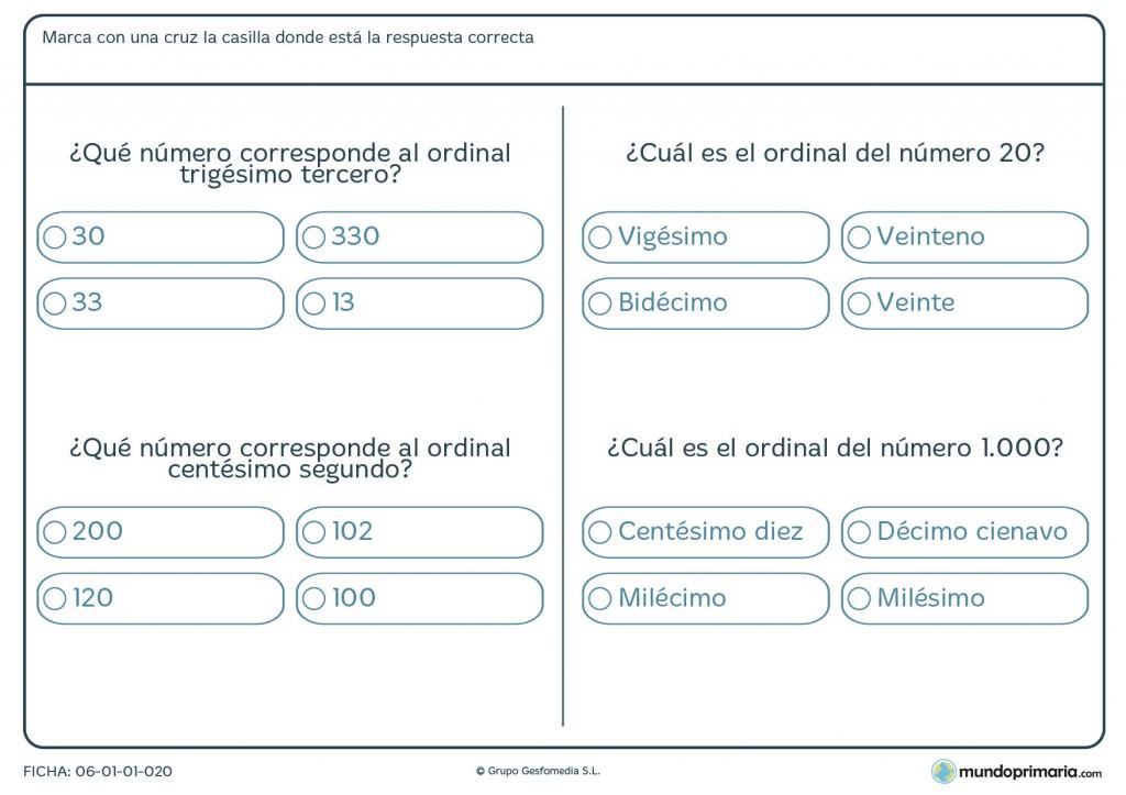 Ficha de qué número corresponde al ordinal para primaria
