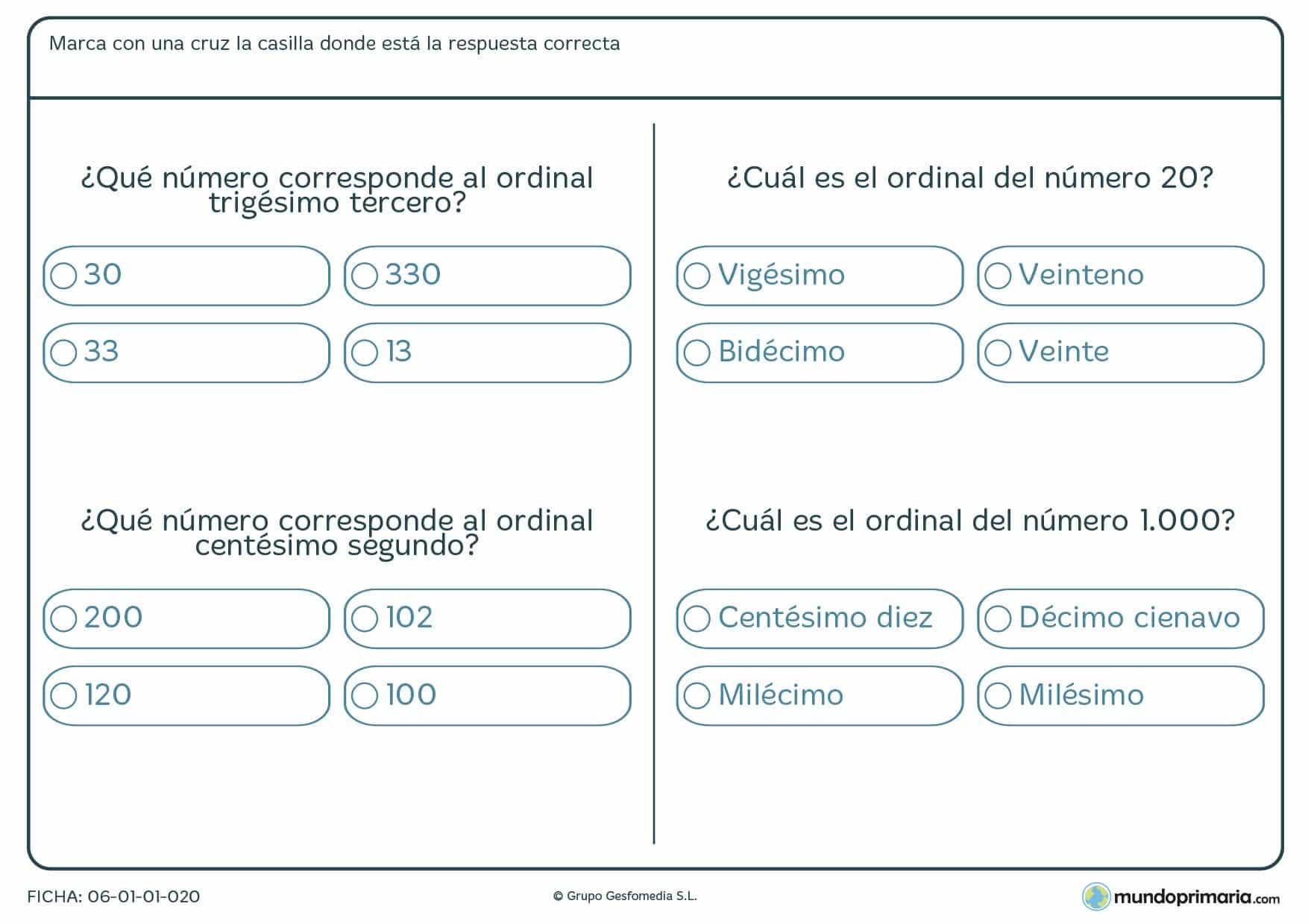Ficha de qué número corresponde al ordinal
