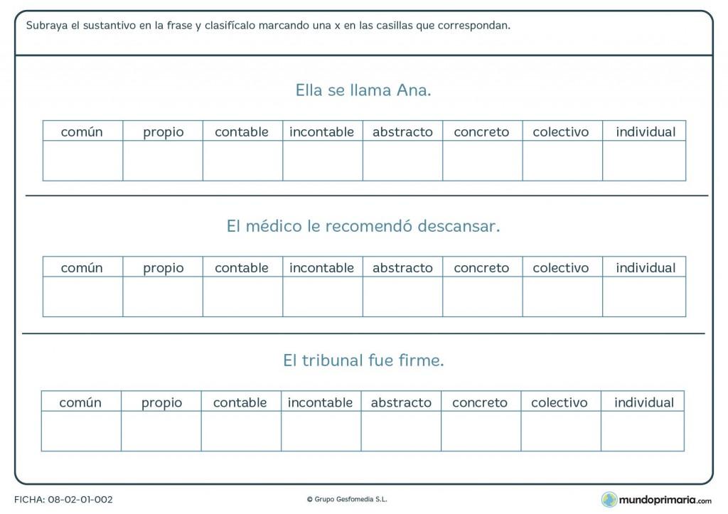 Ficha de reconocimiento de sustantivos para primaria