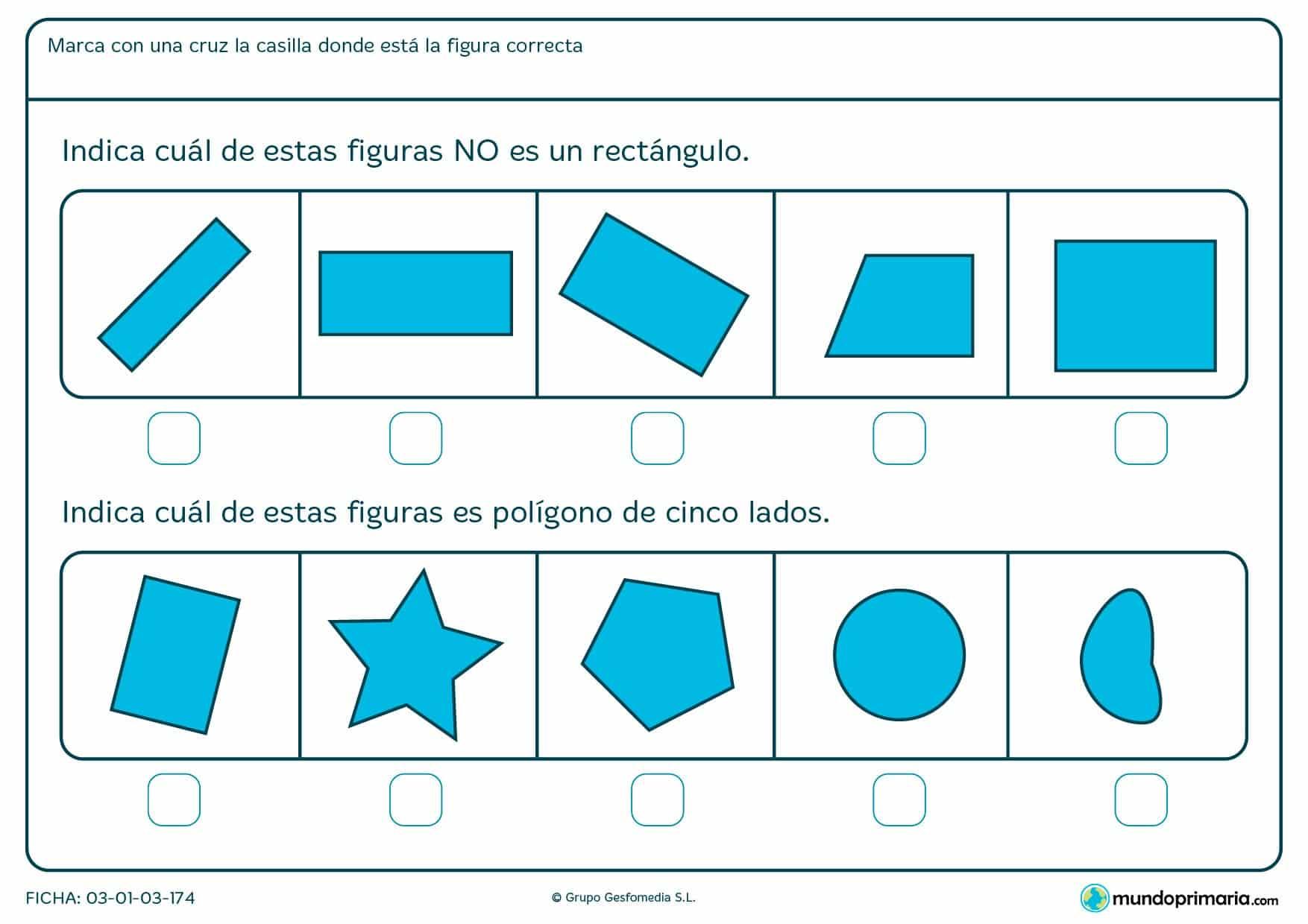 Ficha de rectángulos para repasar conocimientos en primaria