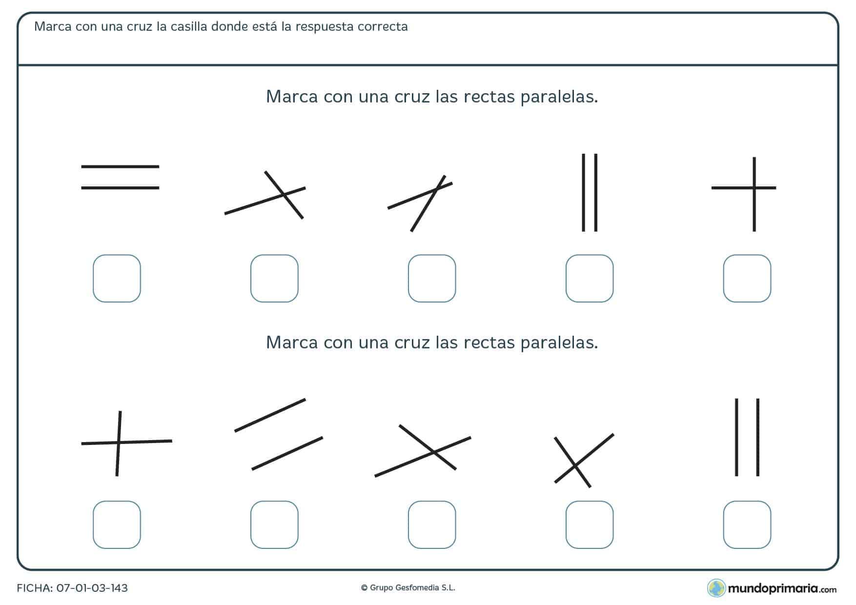 Ficha de rectas paralelas para marcar de los 10 pares que te mostramos las que sean paralelas.