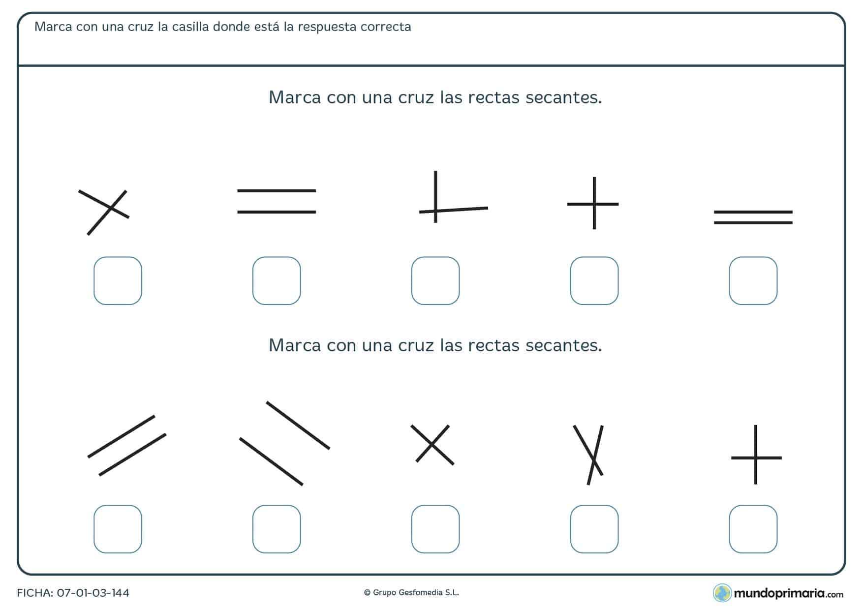 Ficha de rectas secantes con 10 tipos diferentes de pares de rectas, señala las secantes.