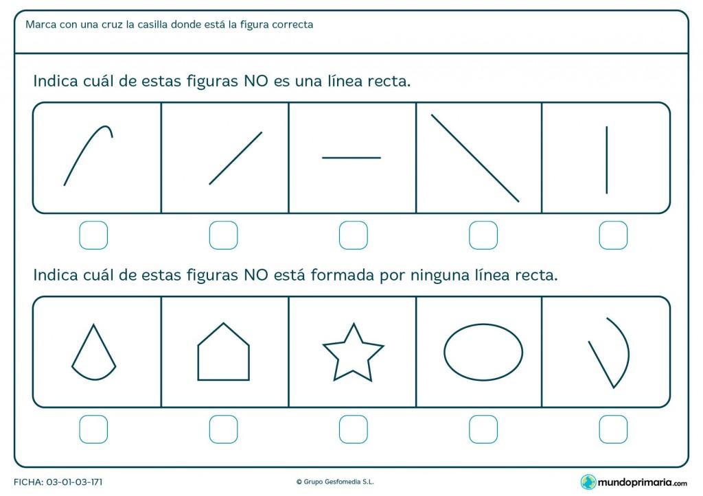 Ficha de rectas y curvas para niños de primaria