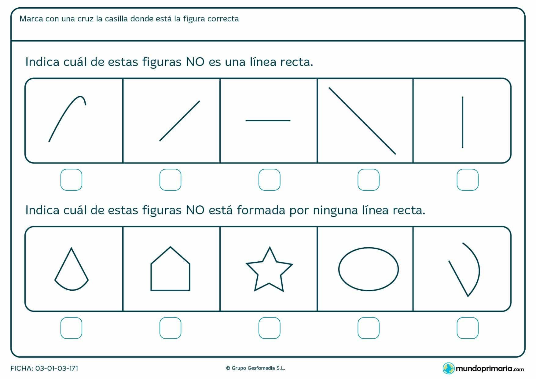 Ficha de rectas y curvas para niños de primaria con la que reforzar los deberes