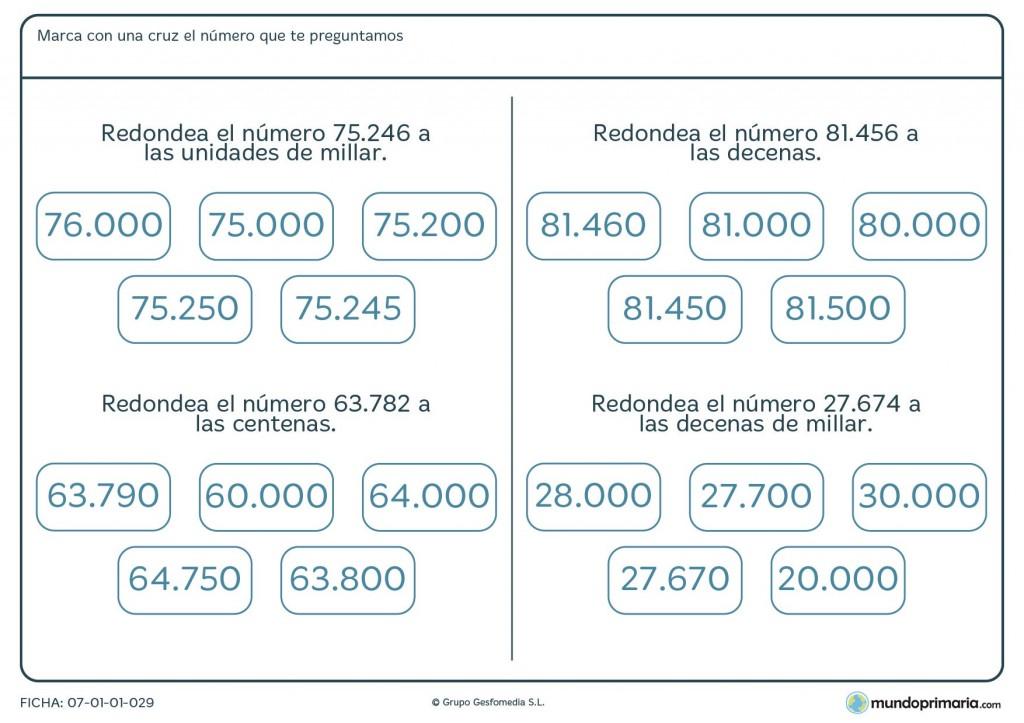 Ficha de redondear cantidades para primaria
