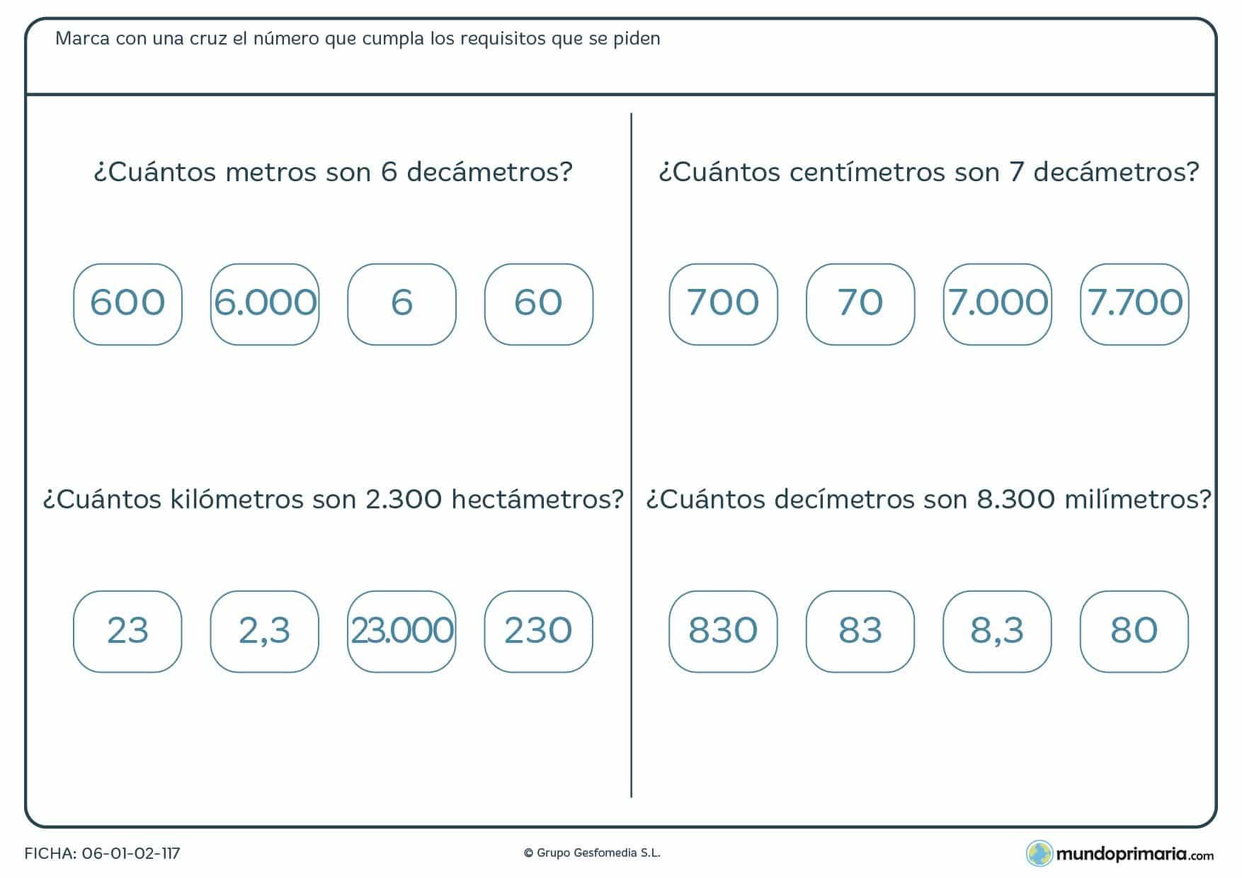 Ficha de relación de medidas en la que deberás marcar la medida correcta como respuesta a la pregunta.
