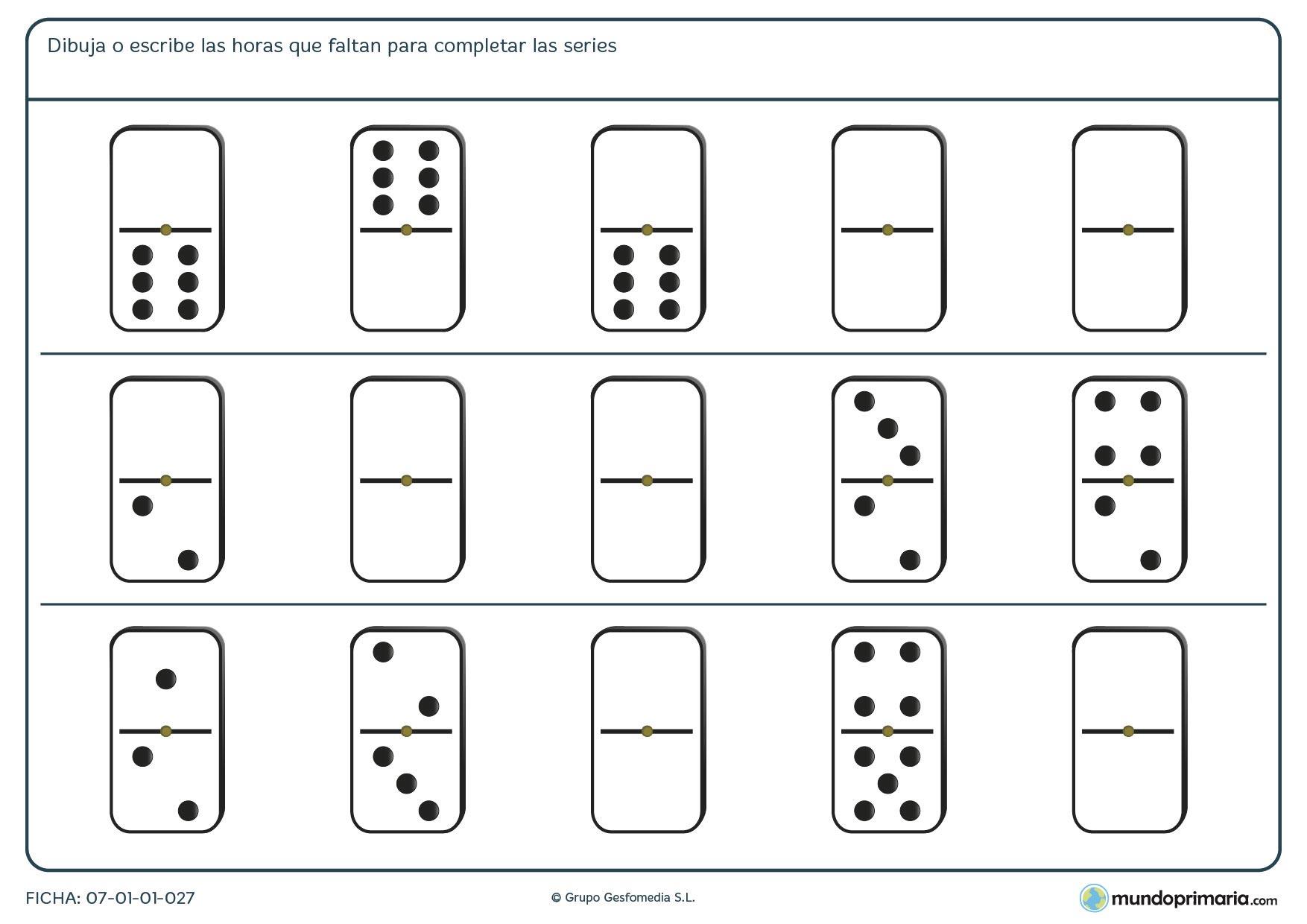Ficha de rellenar la serie del dominó adecuadamente para que sea lógica.