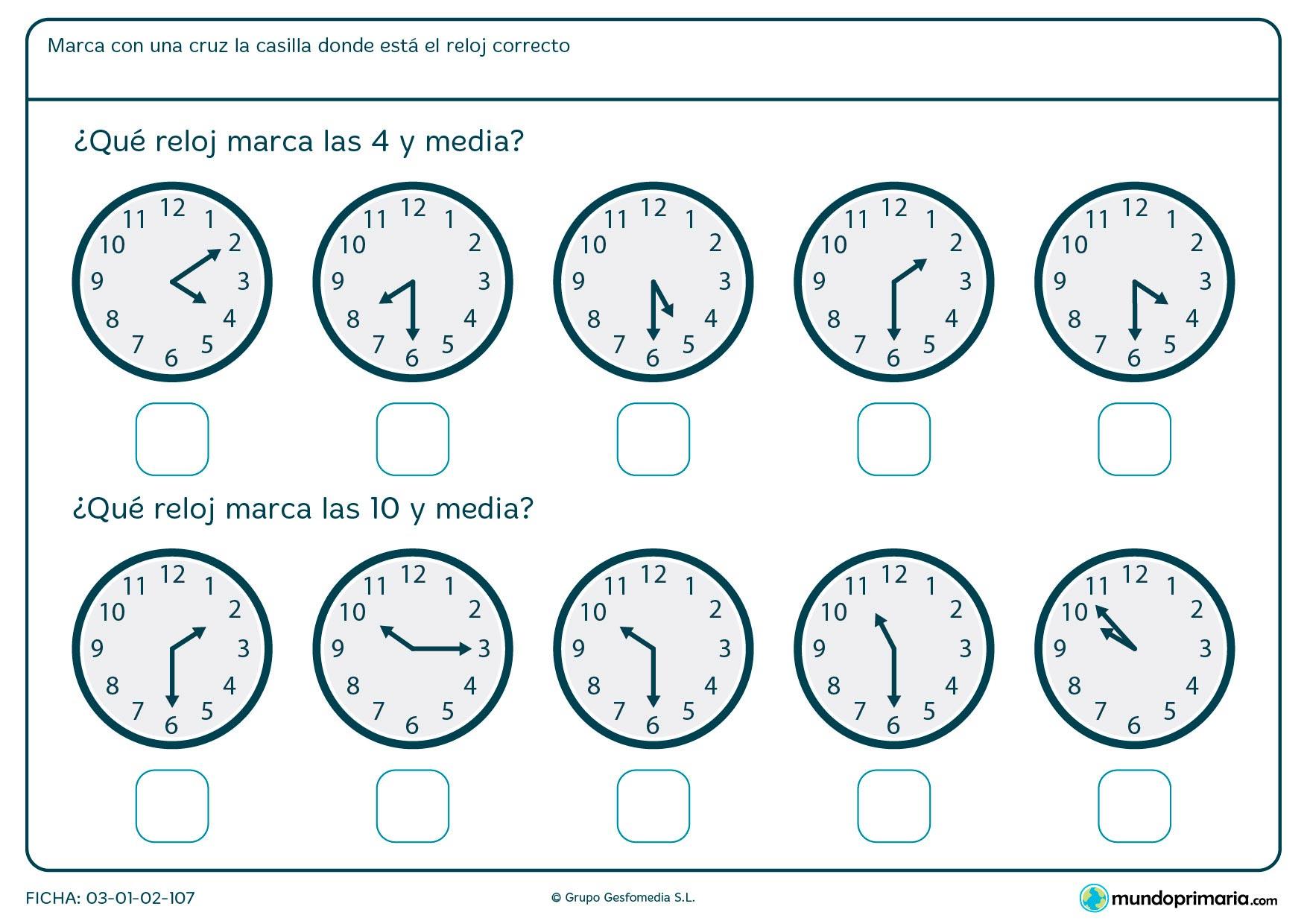 Ficha de reloj a y media en la que debes señalar los relojes que marcan las horas medias que te pedimos.