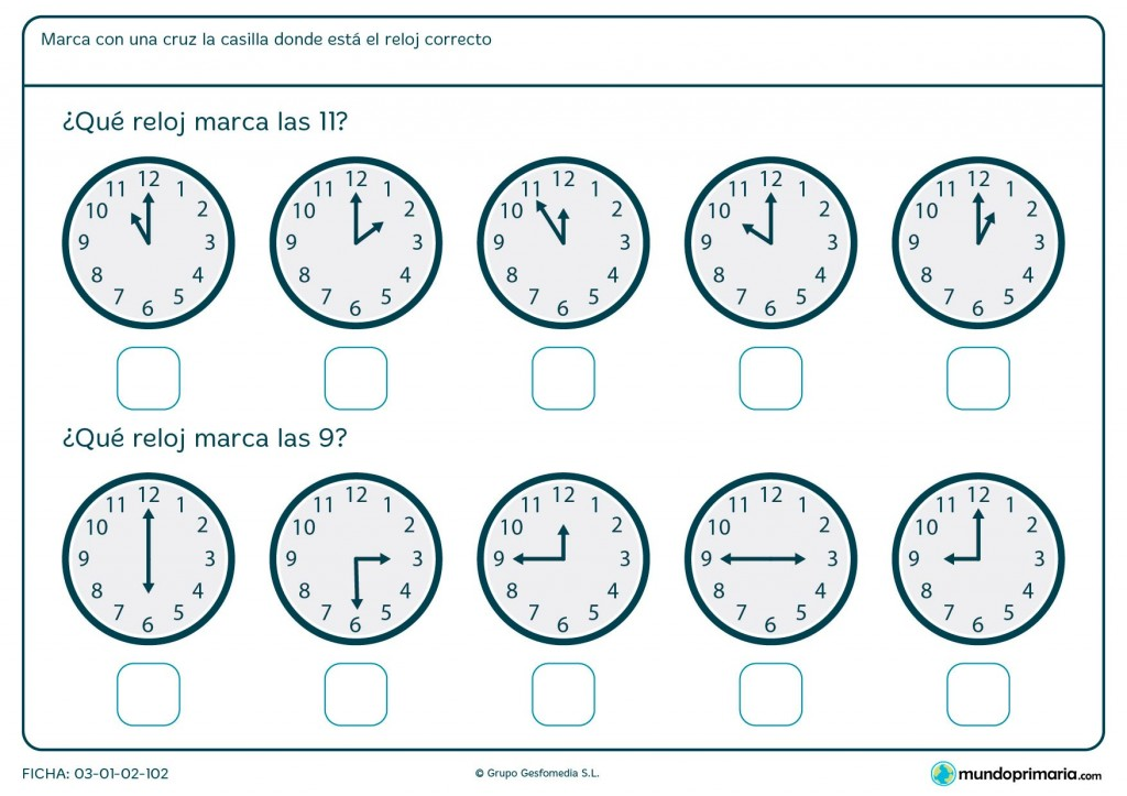 Ficha de reloj analógico