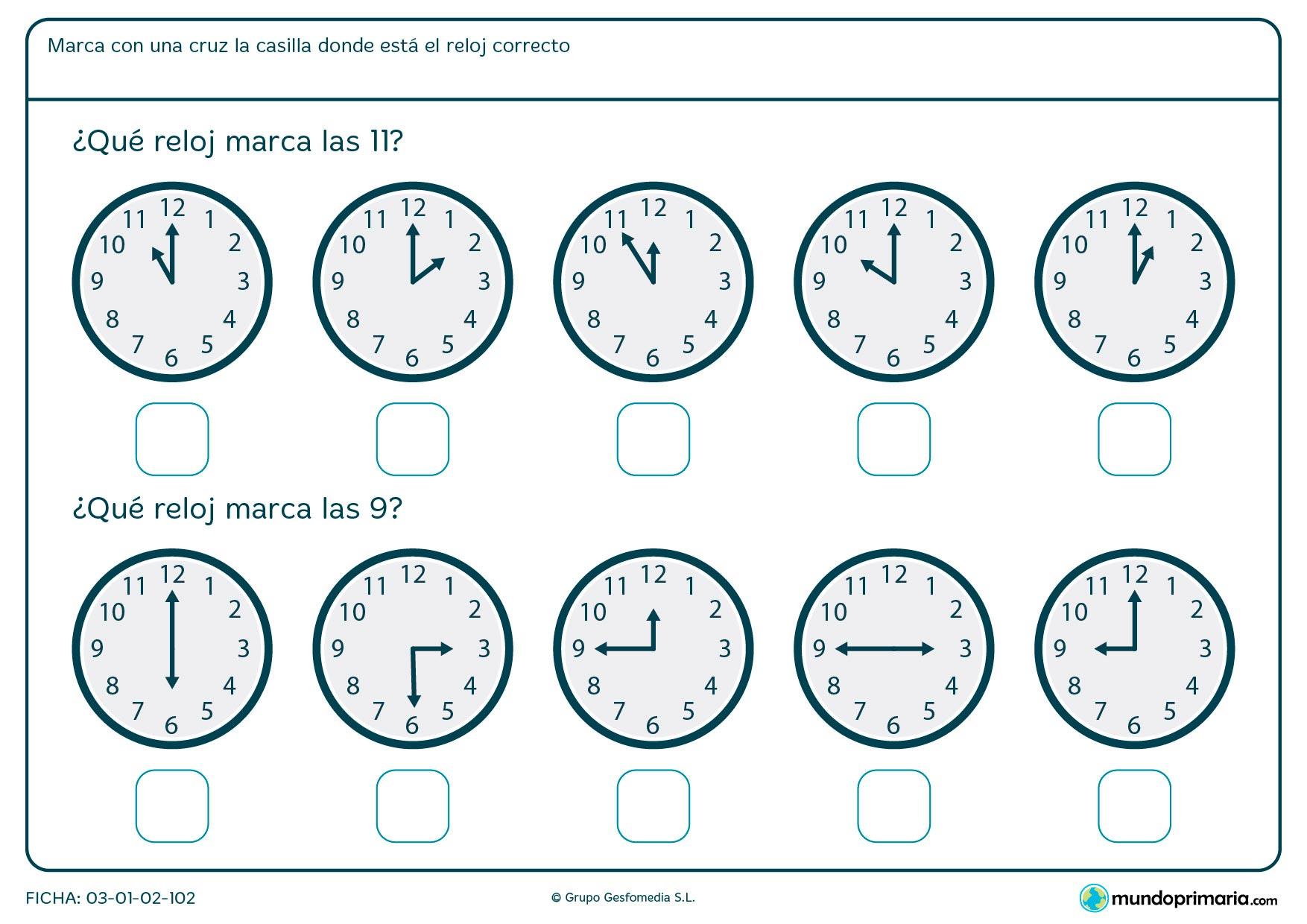Ficha de reloj analógico para decir en qué reloj son las 11 en punto y en cuál las 9 en punto.
