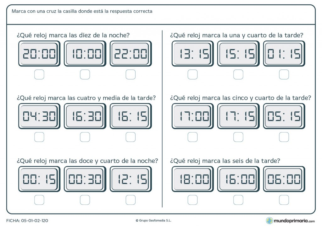 Ficha de reloj digital para primaria