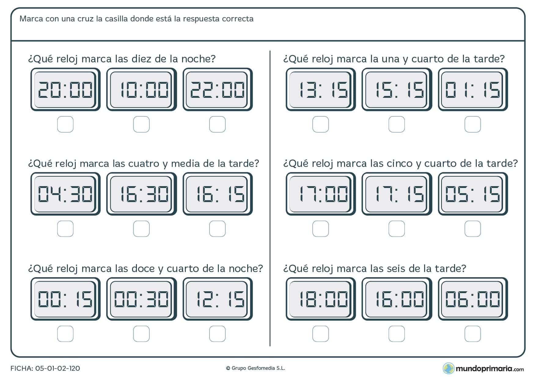 Ficha de reloj digital en la que debes interpretar las horas que marcan los relojes.