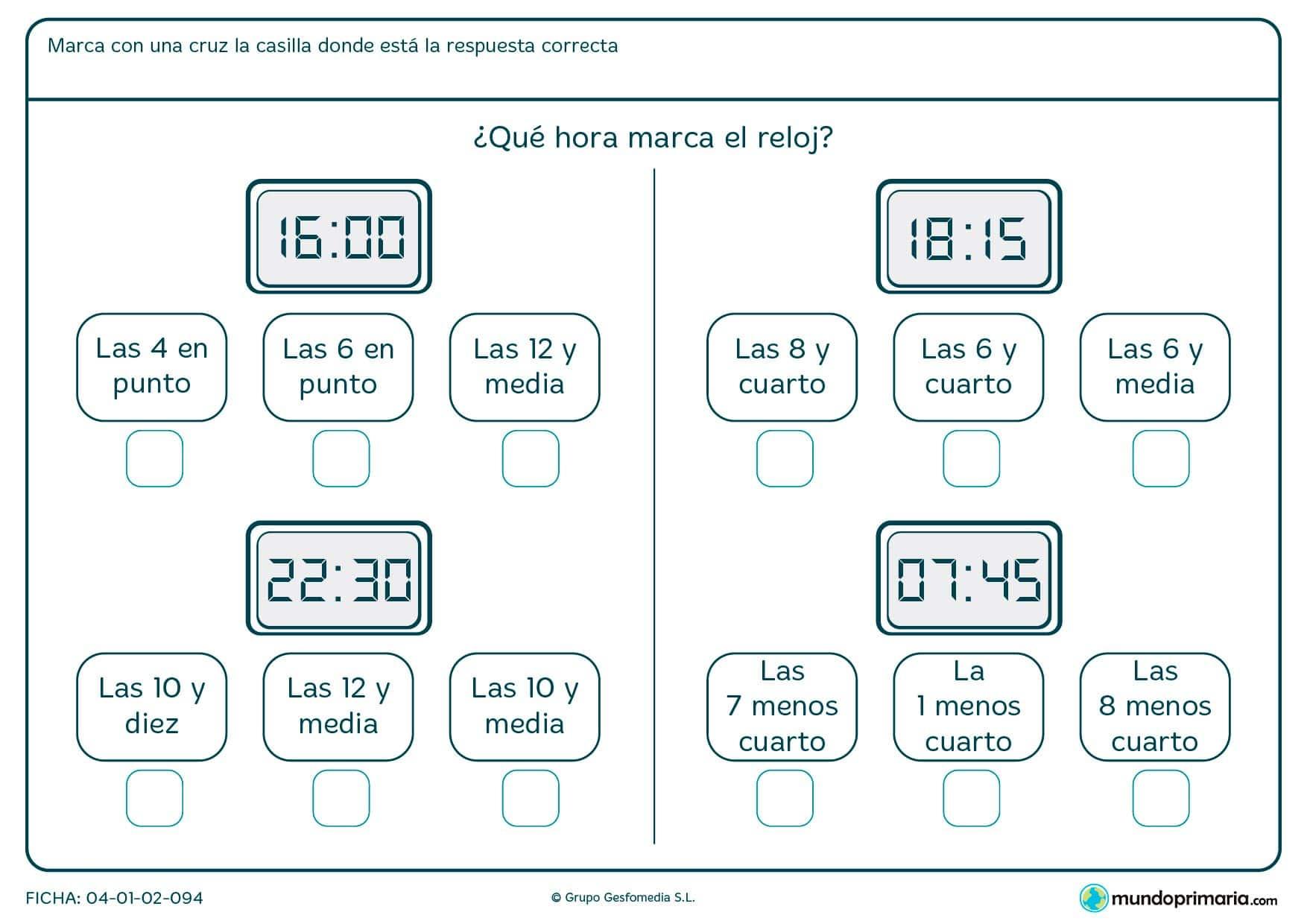 Ficha de reloj digital para leer su hora y contestar a la pregunta de forma idónea.
