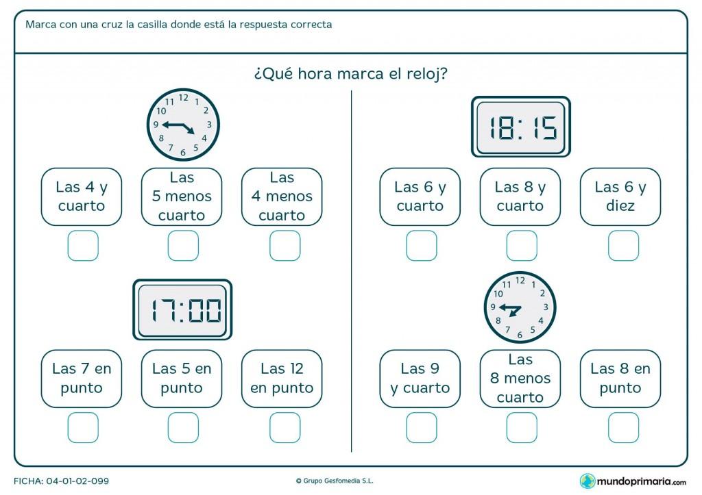 Ficha de reloj digital y analógico para primaria