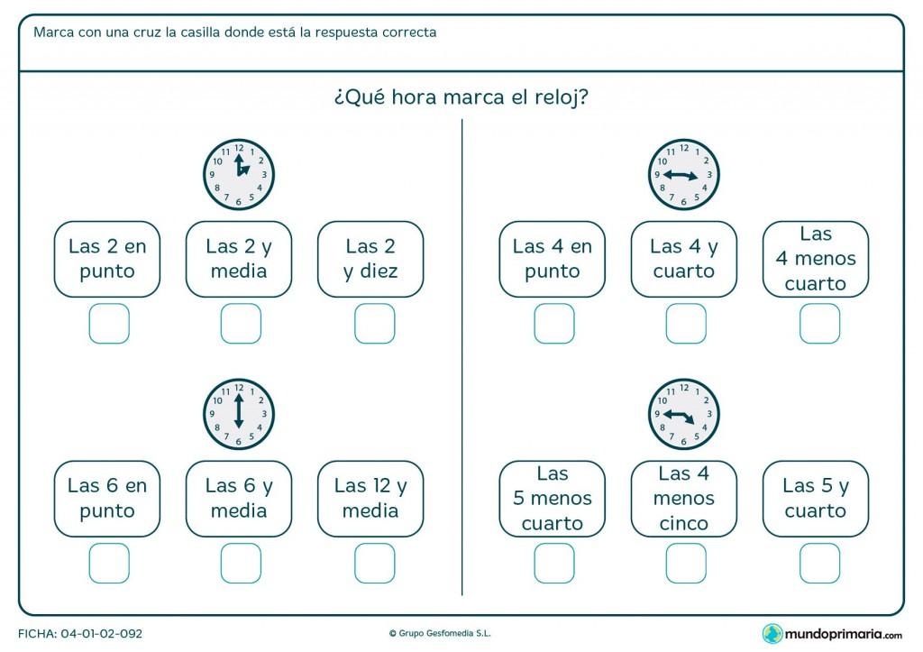 Ficha de relojes analógicos para primaria