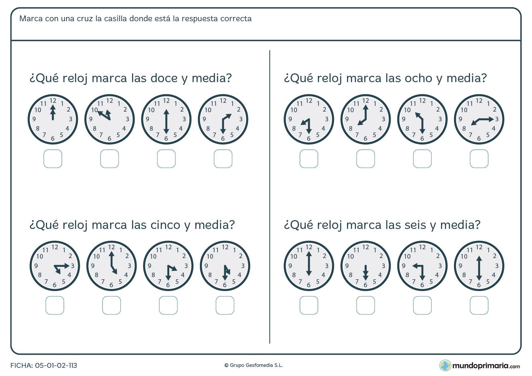 Ficha de relojes analógicos en los que hemos de averiguar la hora que se nos pide.