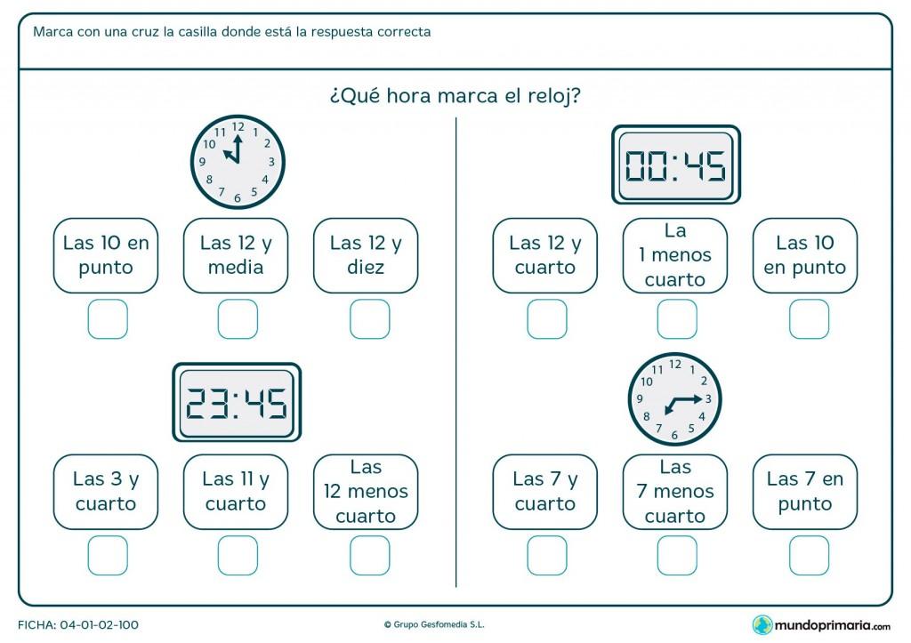 Ficha de relojes analógicos y digitales para segundo de primaria