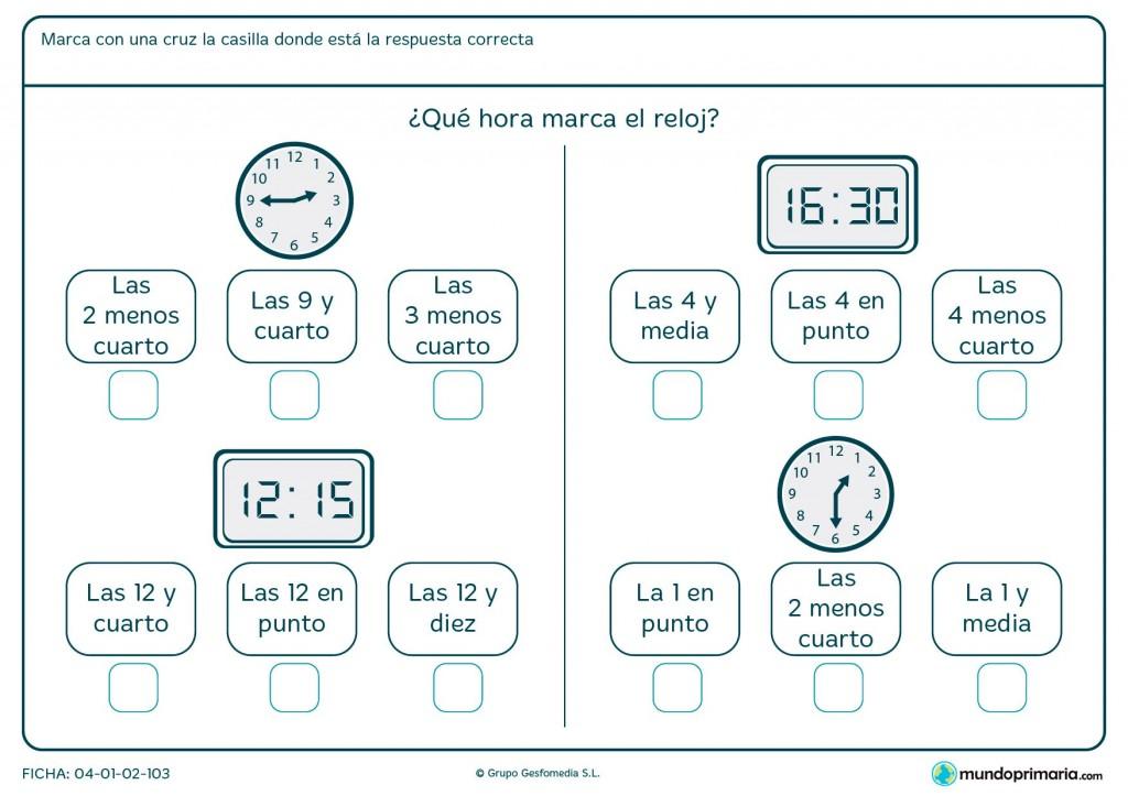 Ficha de relojes diferentes para segundo de primaria