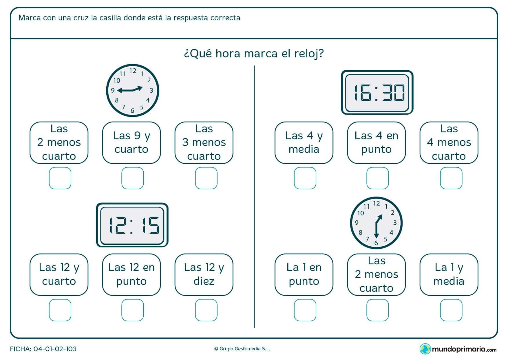 Ficha de relojes diferentes para interpretar su hora y señalar correctamente la respuesta.