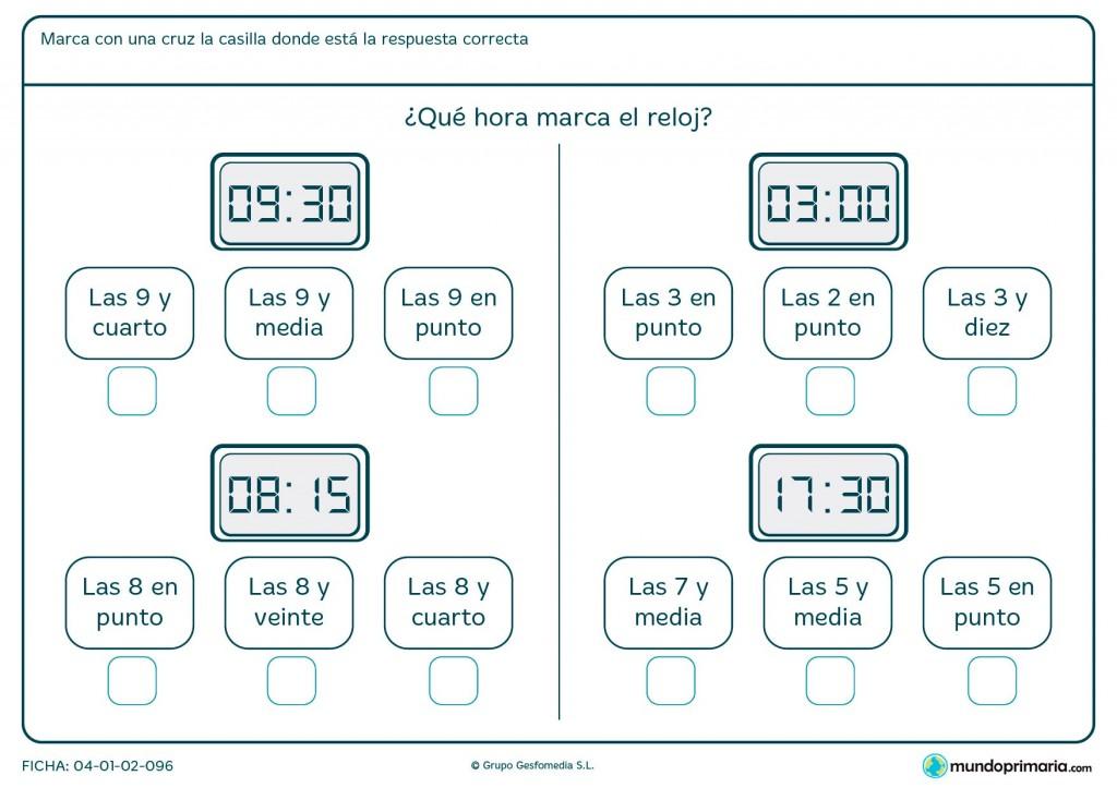 Ficha de relojes digitales para primaria