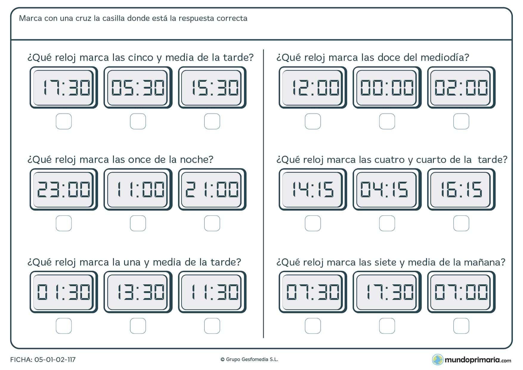 Ficha de relojes digitales para leer la hora e indicar las horas que se nos piden maracando debajo de los correctos.