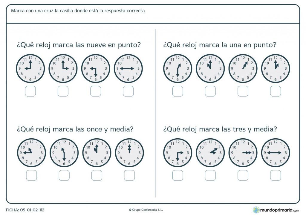 Ficha de relojes para primaria