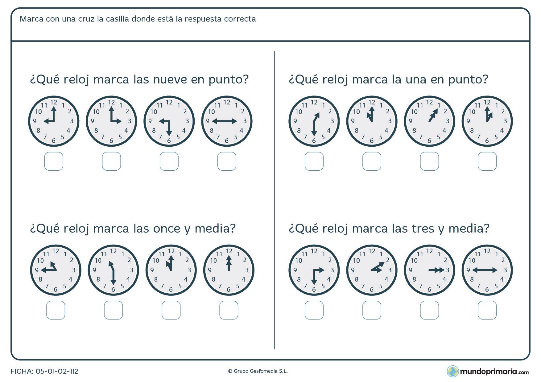 Ficha de relojes analógicos que marcan horas en punto y medias horas y hay que señalar las correctas.