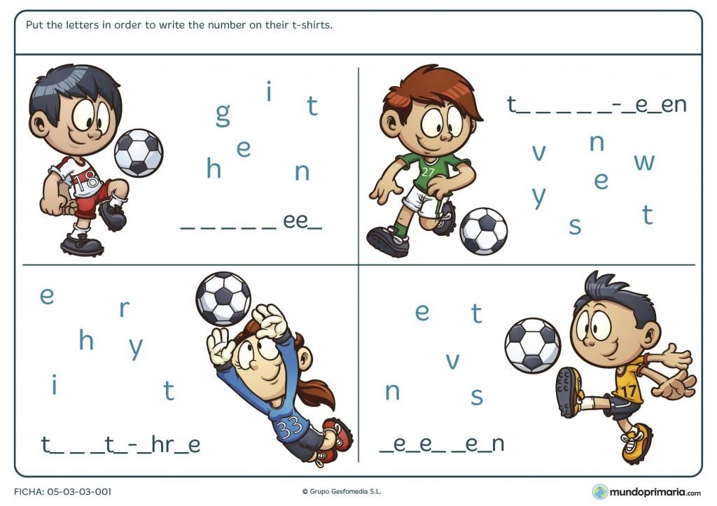 Ficha de reorder the letters para primaria