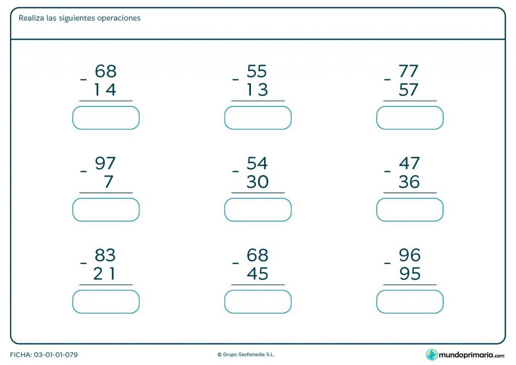 Ficha de restar números de 2 cifras para primaria