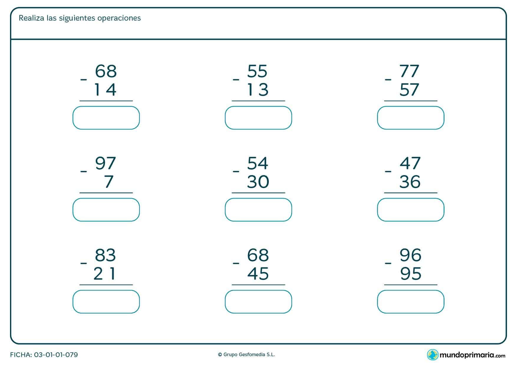 Ficha de restar números de 2 cifras en vertical en la que tienes que escribir la solución.
