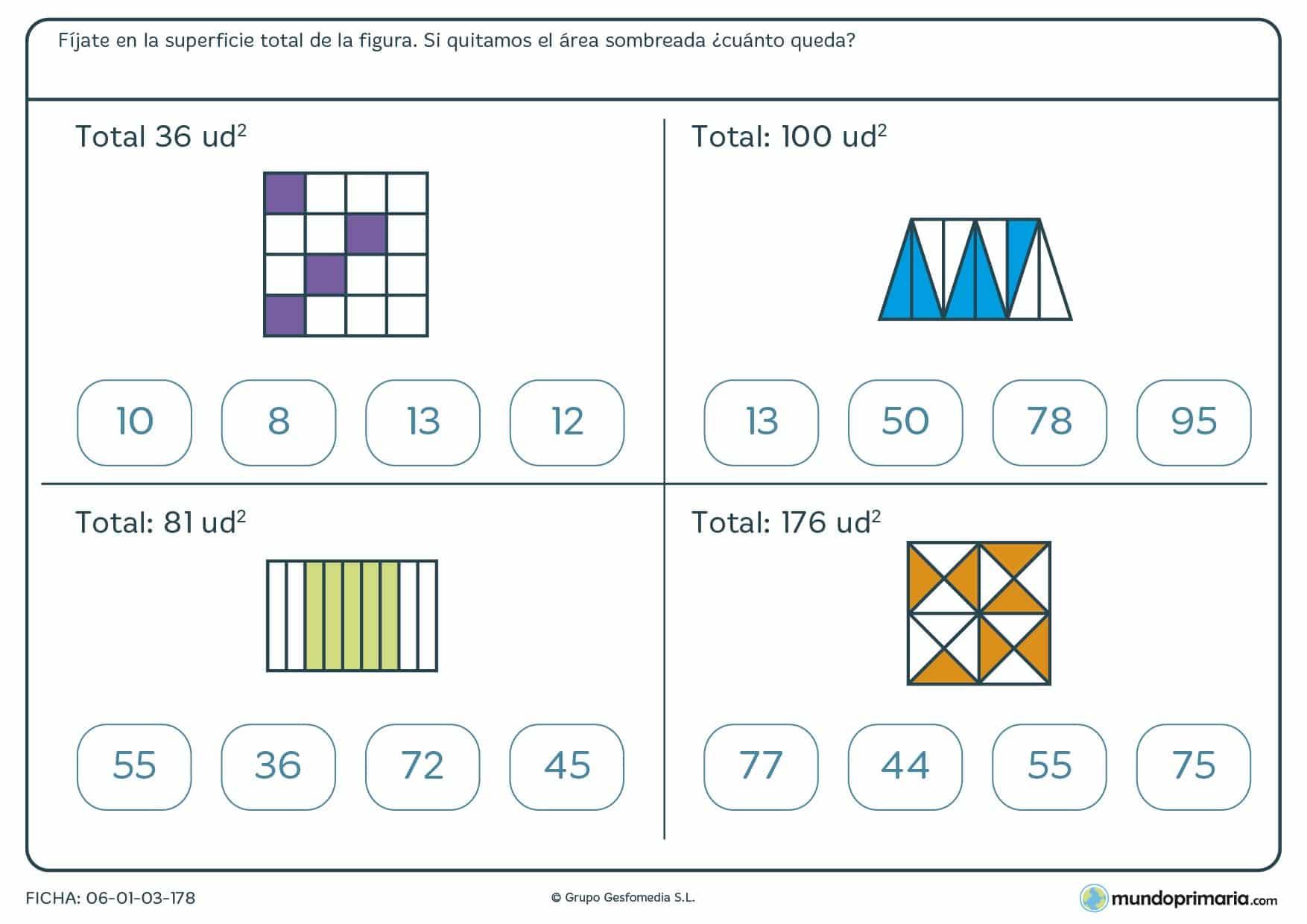 Ficha de restar unidades cuadradas que aparecen sobreadas del total de la figura.