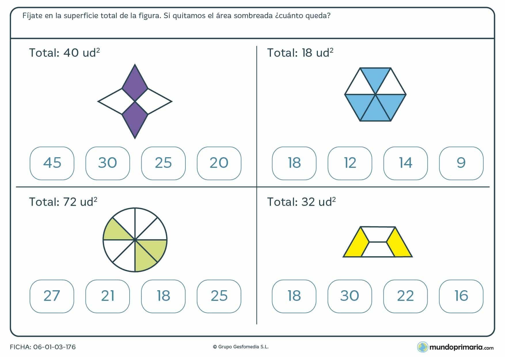 Ficha de restar unidades cuadradas de figuras en las que tendrás que restar las zonas sombreadas.