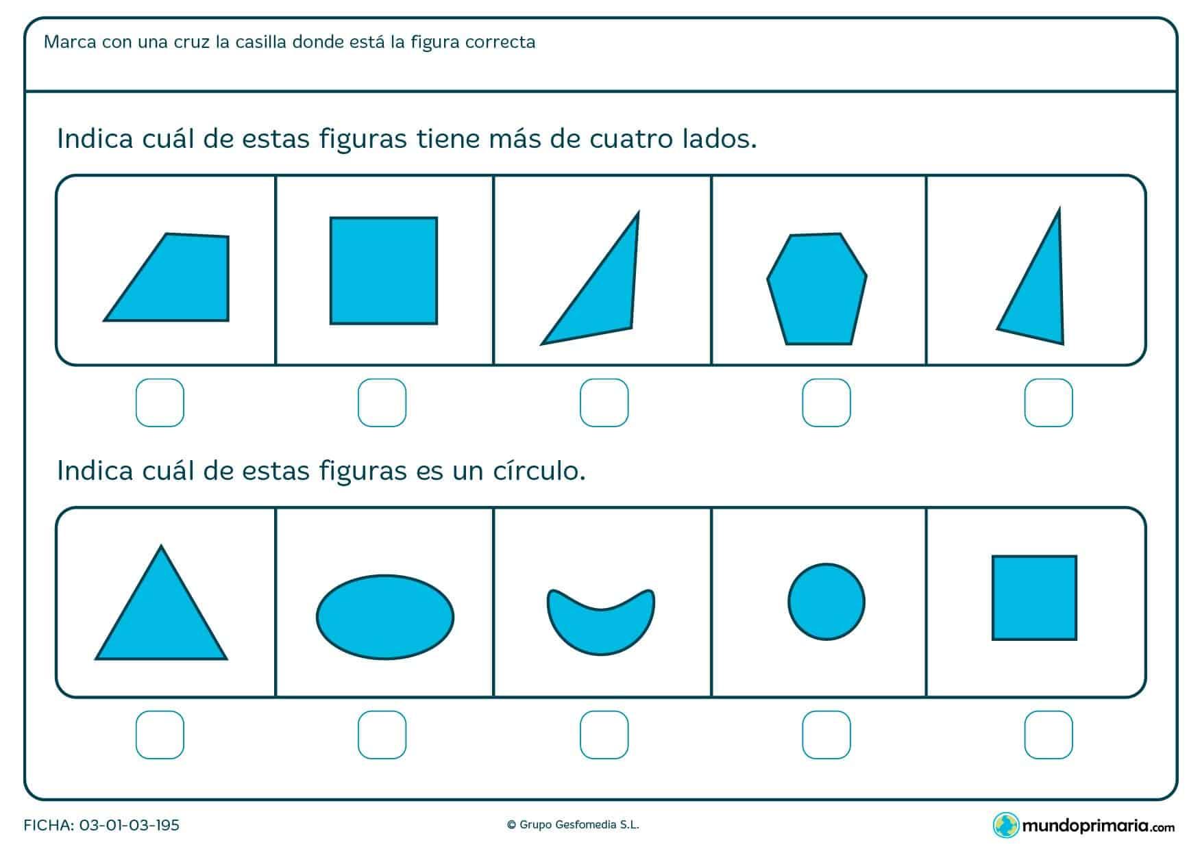 Ficha de símbolos con actividades para niños de 7 años
