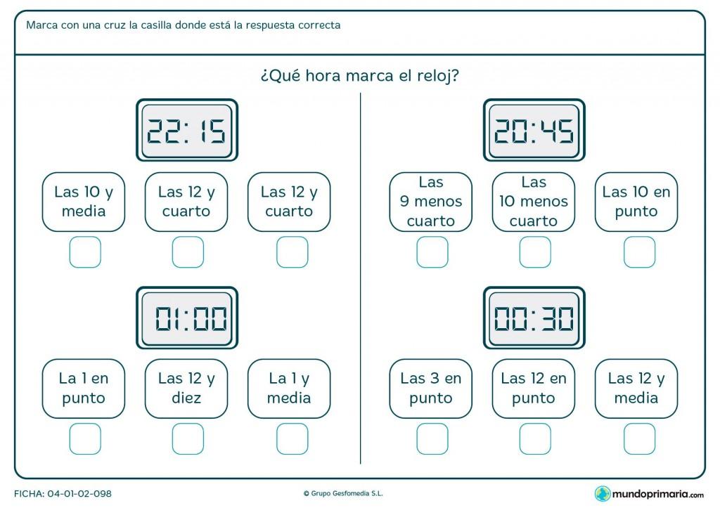 Ficha de señalar horas en digital para primaria