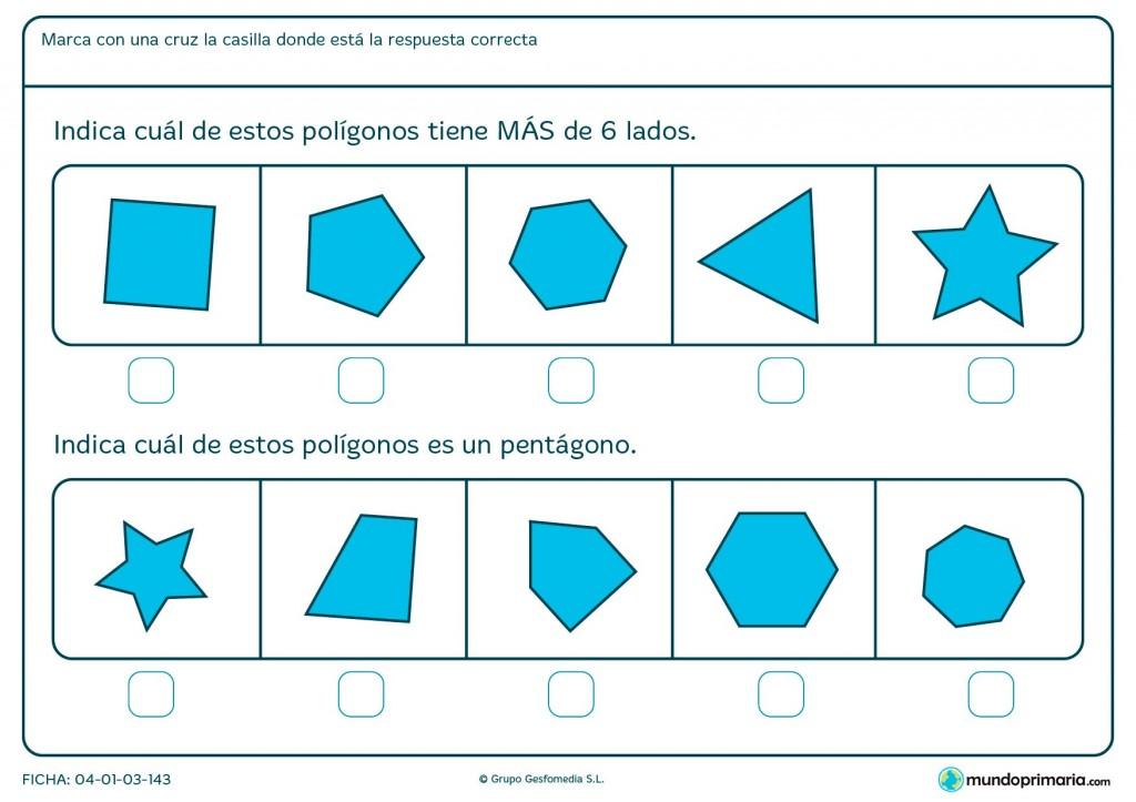 Ficha de señalar polígonos para primaria