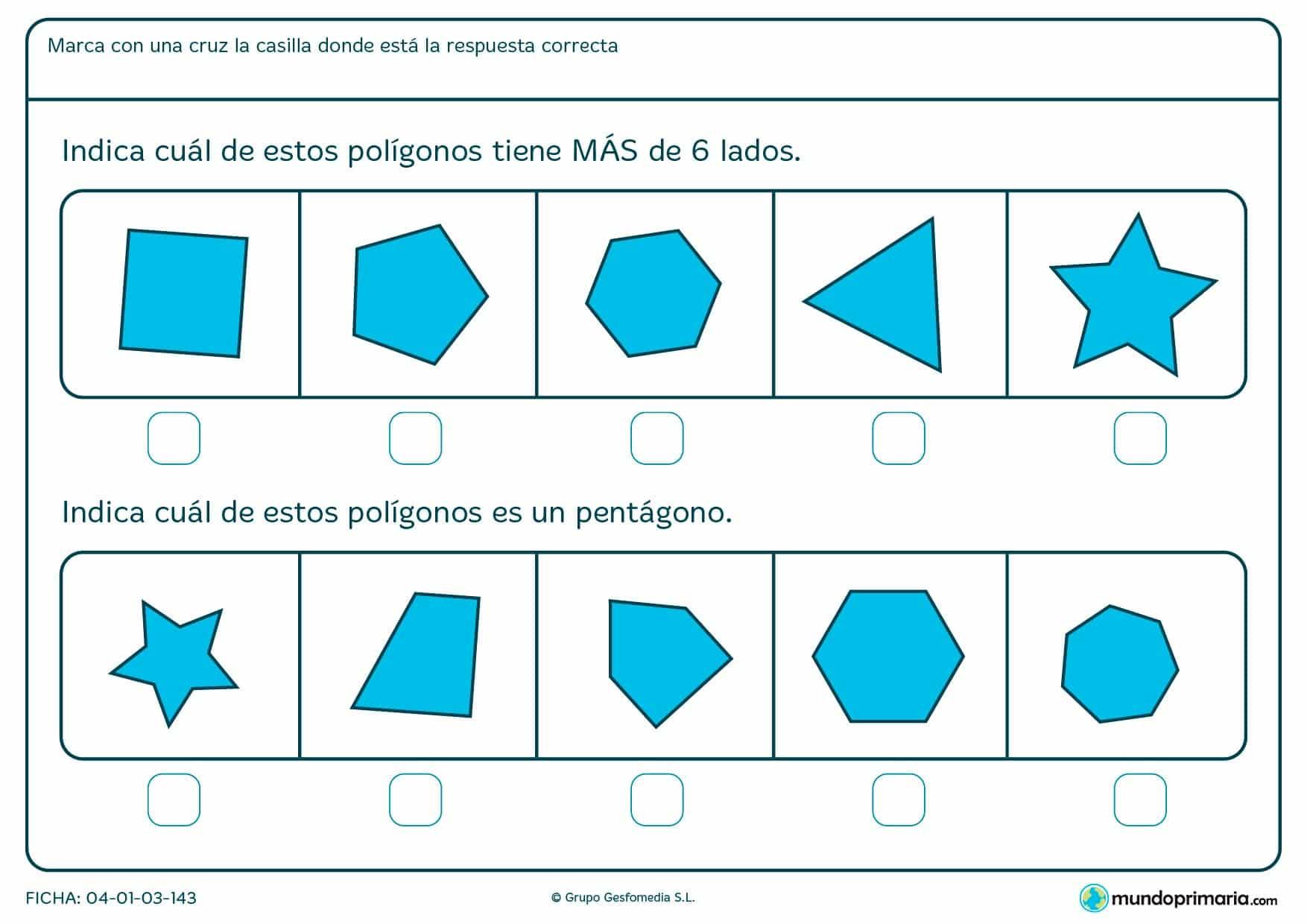 Ficha de señalar polígonos según te pidamos, por número de lados o por un nombre en concreto.