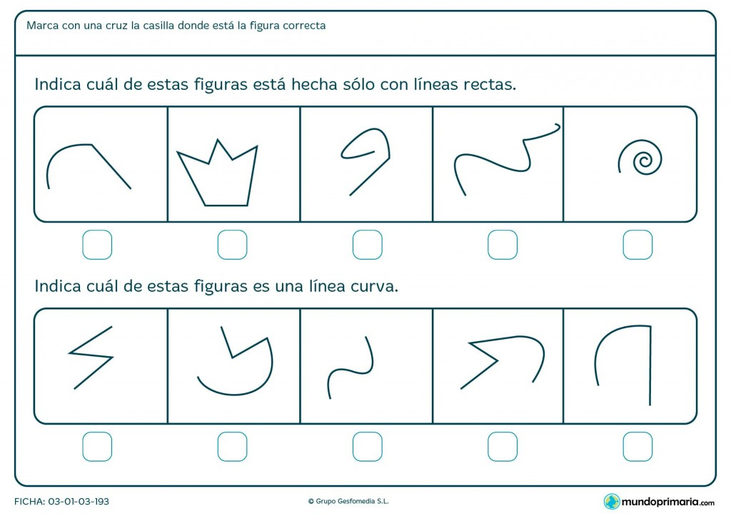 Ficha de segmentos curvos para primaria