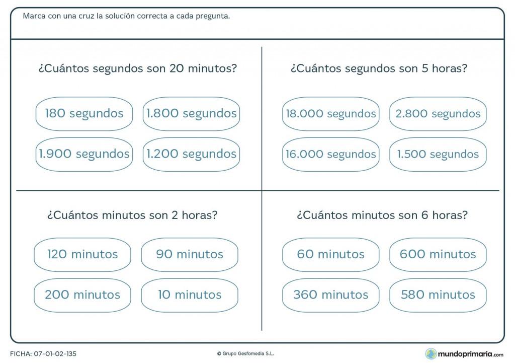 Ficha de segundos y minutos para primaria