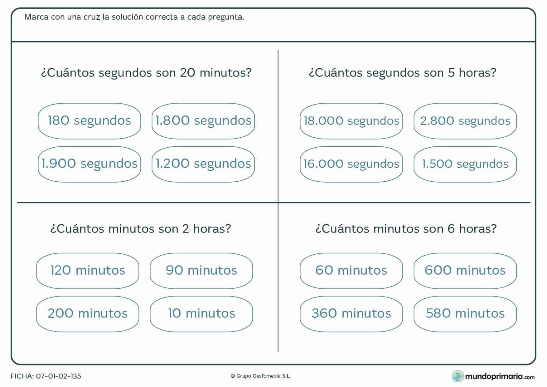 Ficha de segundos y minutos. Dinos cuántos segundos tienen x horas y viceversa.