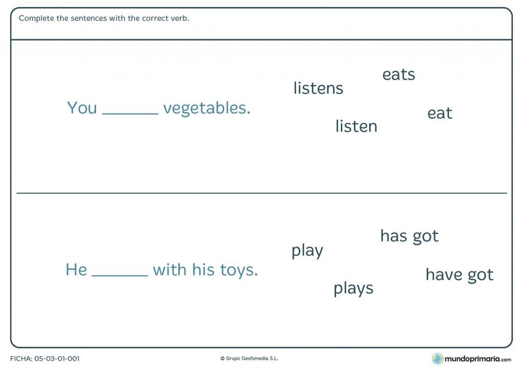 Ficha de sentences para 3º de primaria