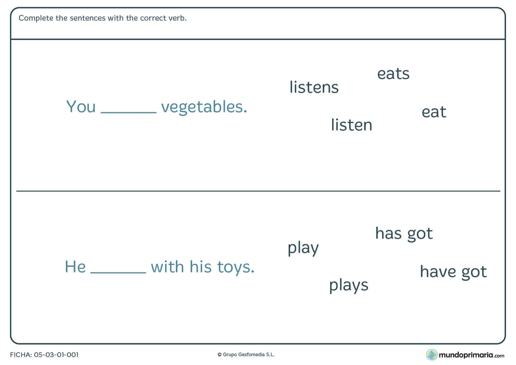 Con esta ficha de sentences puedes repasar inglés. Ficha de sentences para niños de primaria