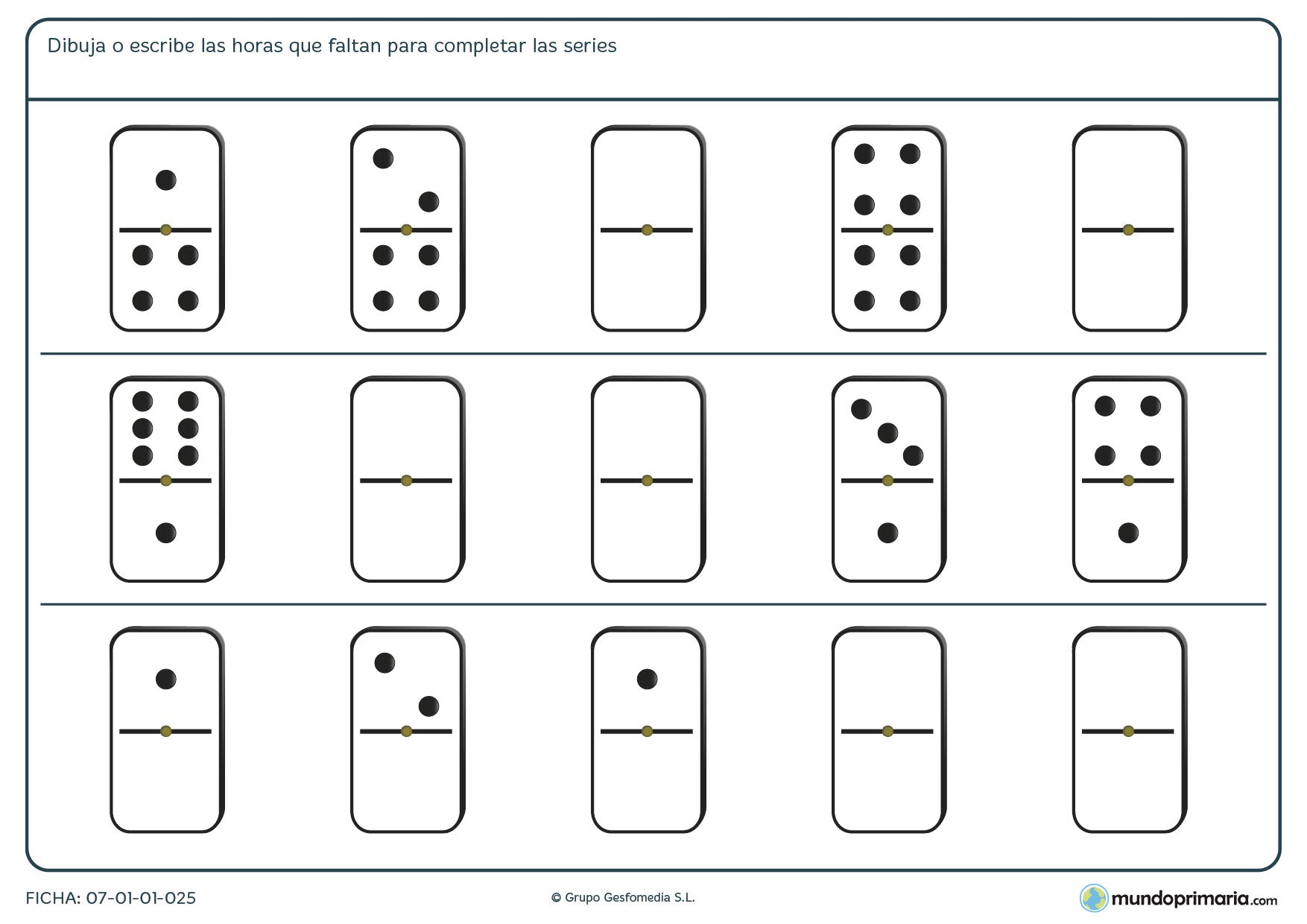Ficha de series de fichas de dominó para completar correctamente.