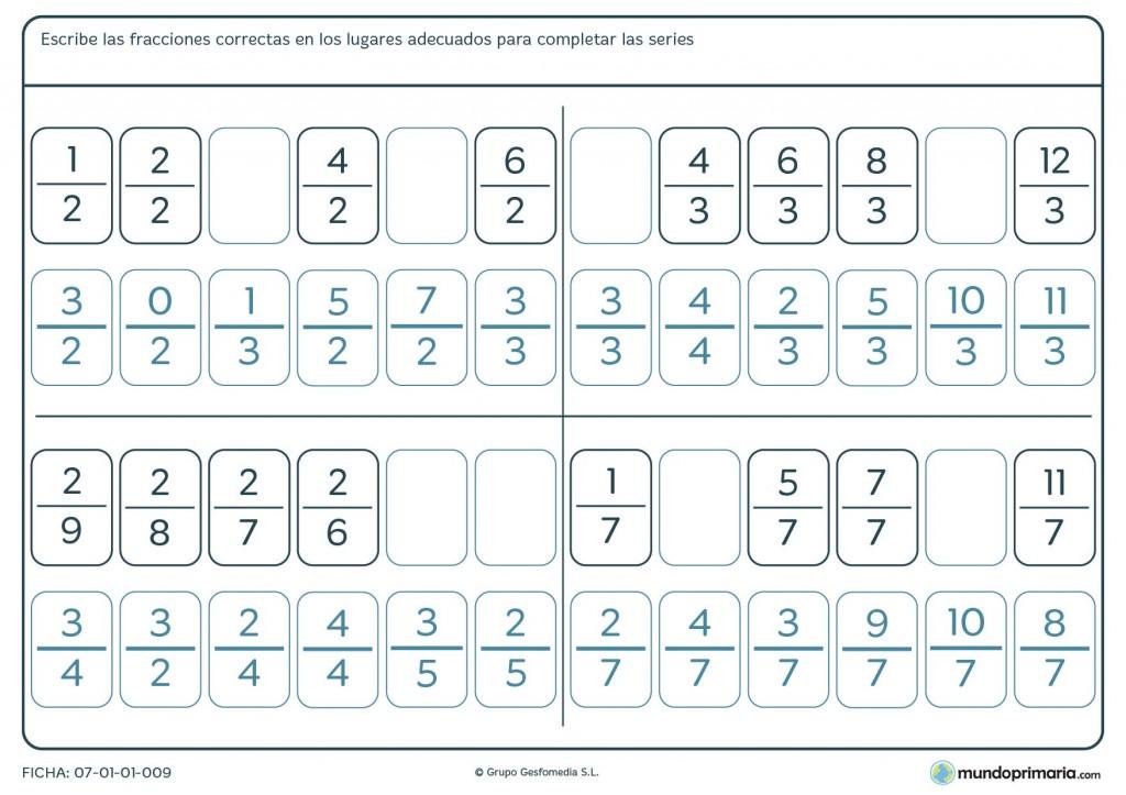 Ficha de series de fracciones para niños de 5º de primaria