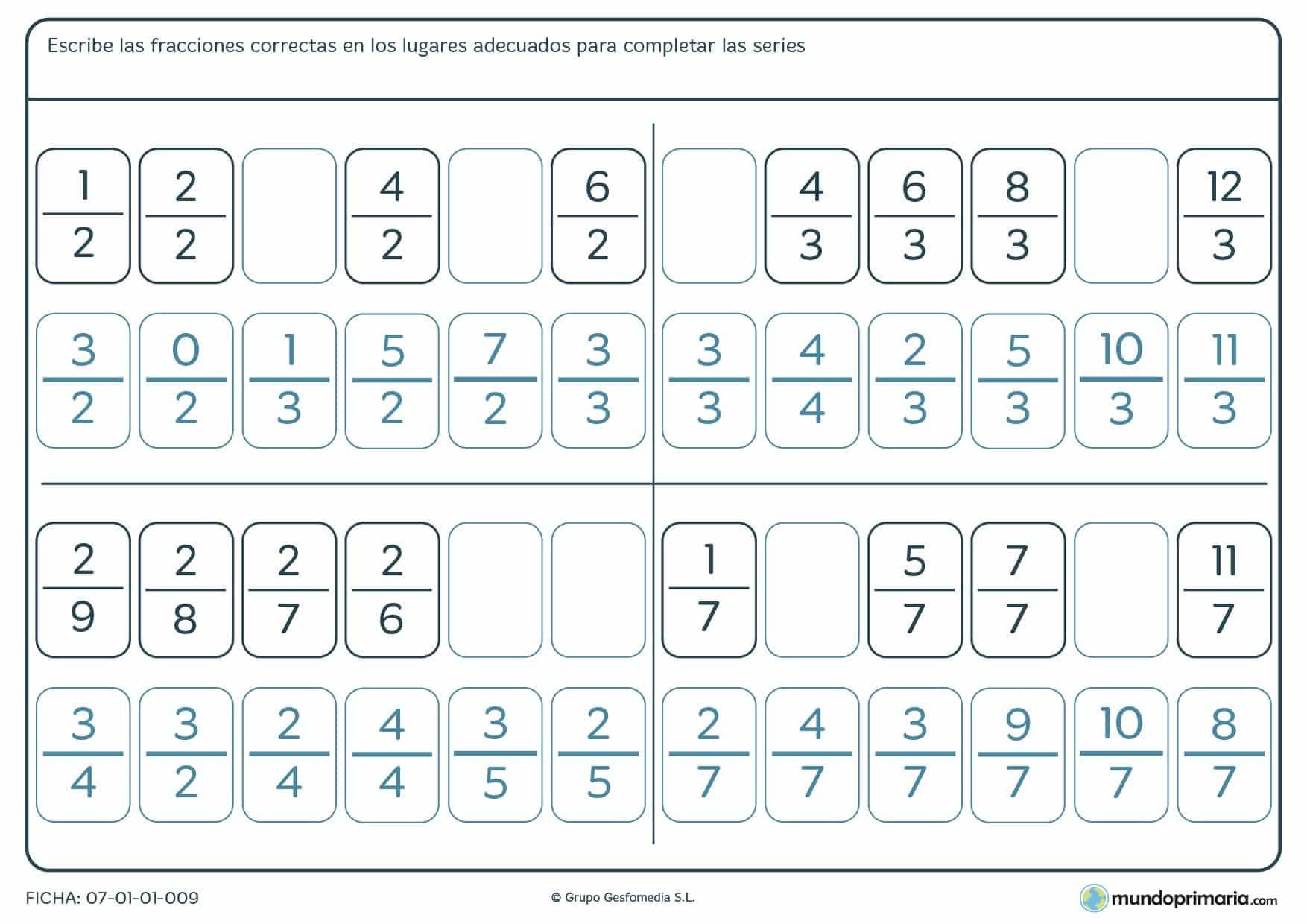 Ficha de series de fracciones para completar las que faltan siguiendo un orden lógico.