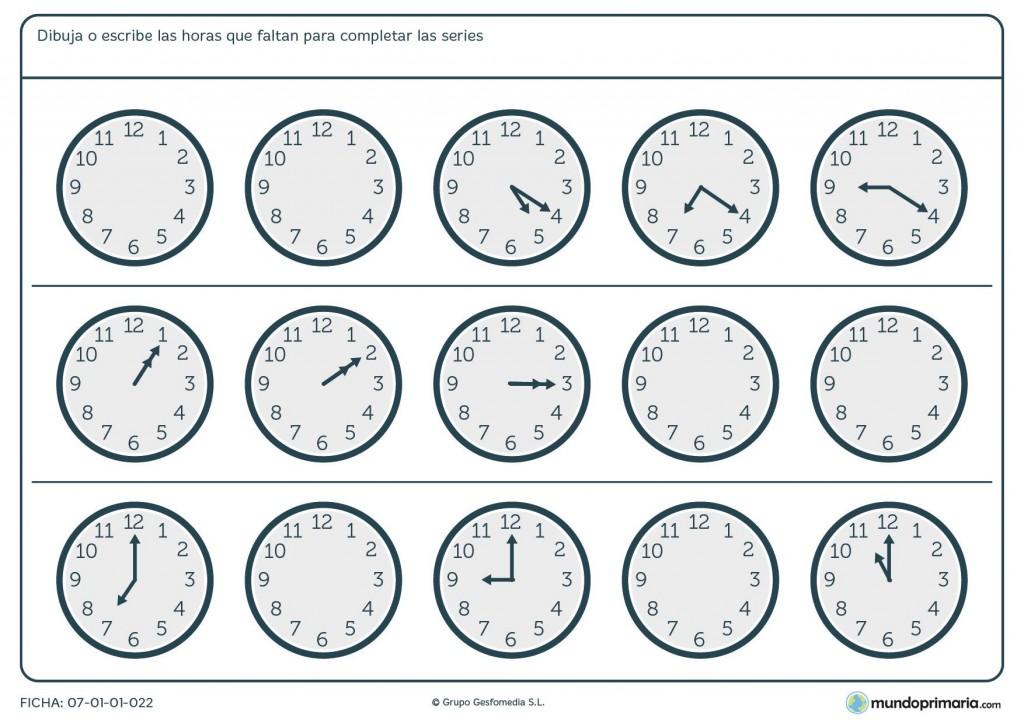 Ficha de series de horas en analógicos para niños de 5º de primaria