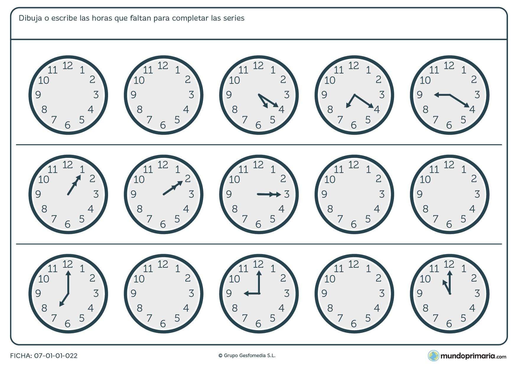 Ficha de series de horas en analógicos en la que debes terminar los relojes vacíos.