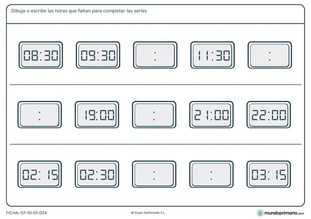 Ficha de series de horas en digitales para primaria
