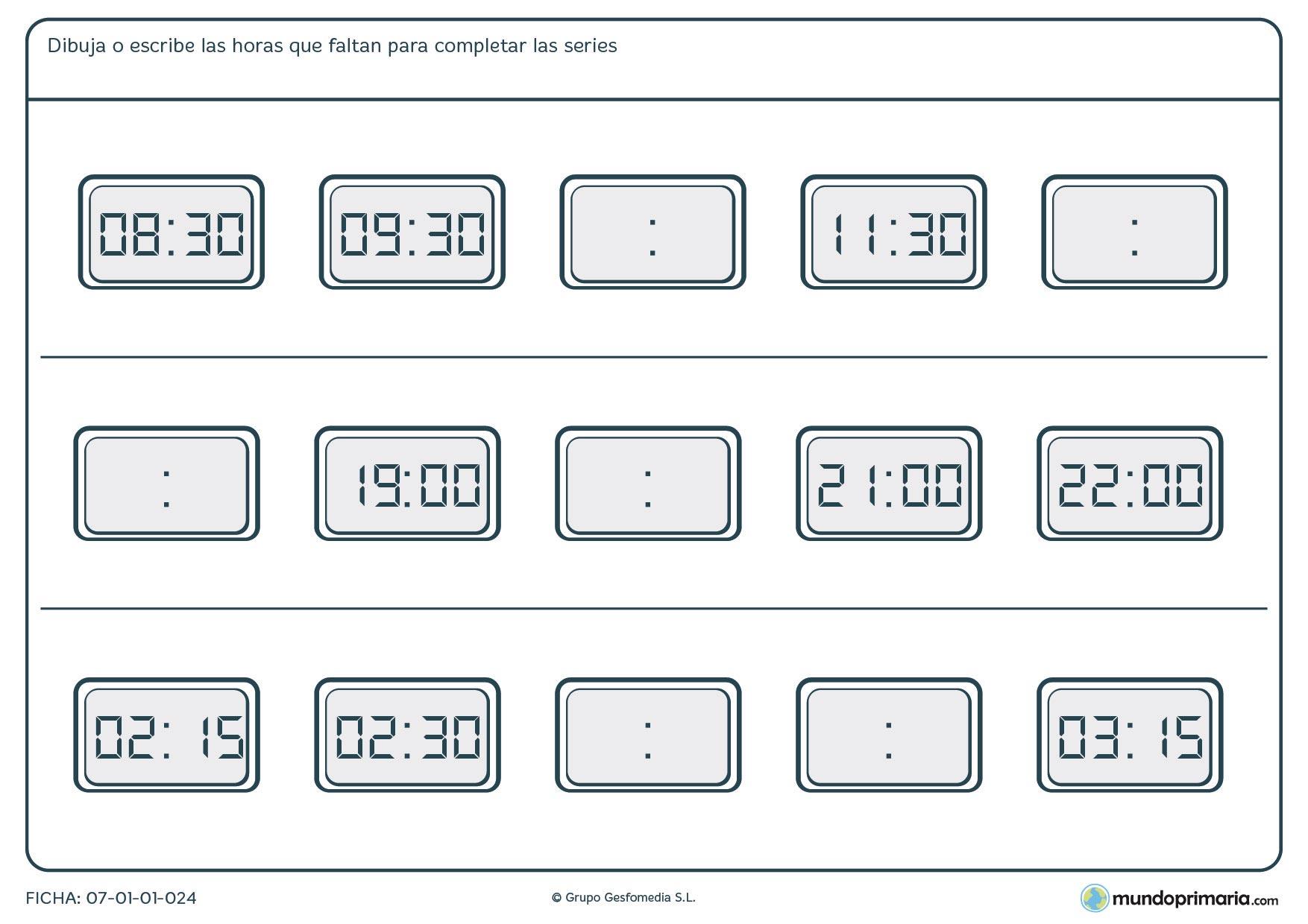 Ficha de series de horas en digitales completa la hora siguiente