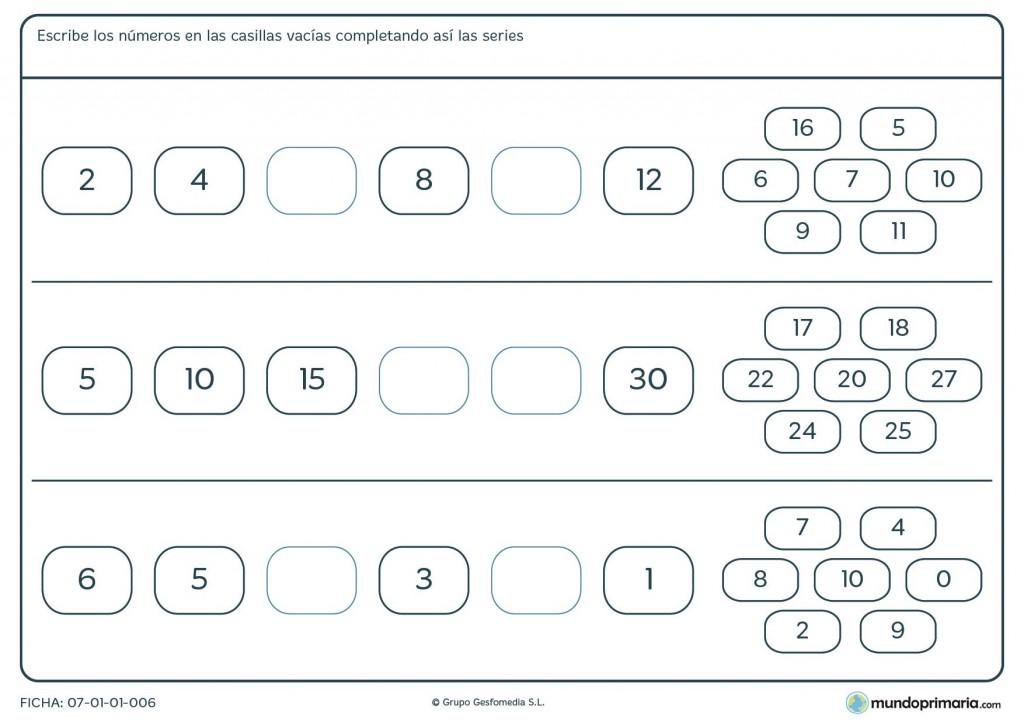 Ficha de series de números para niños de 5º de primaria