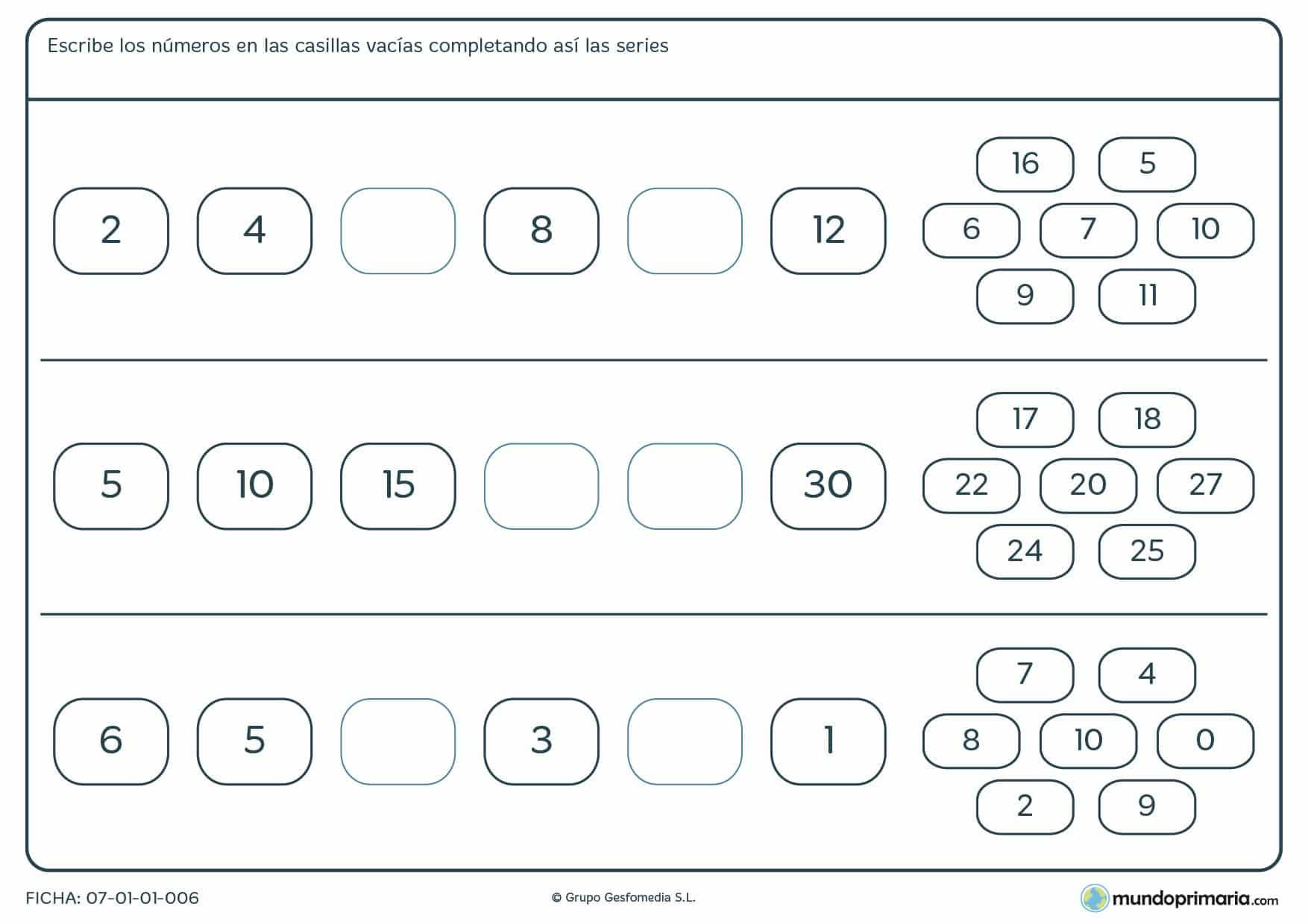 Ficha de series de números en las que has de rellenar los espacios en blanco con los números que corresponden.